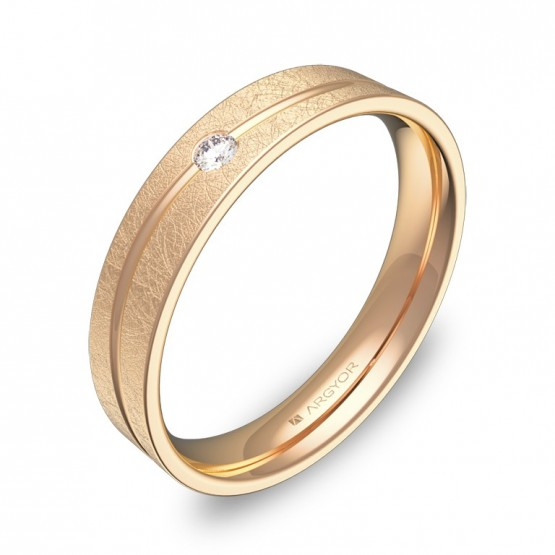 Alianza de boda con ranuras en oro rosa hielo con diamante C3640H1BR