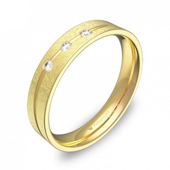 Alianza de boda plana con ranuras en oro hielo con diamantes C3640H3BA