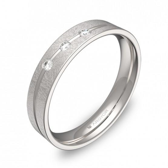 Alianza de boda 4mm oro blanco hielo con diamantes C3640H3BB
