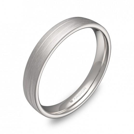 Alianza de boda de media caña con ranuras 3,5mm oro blanco C3535S00B