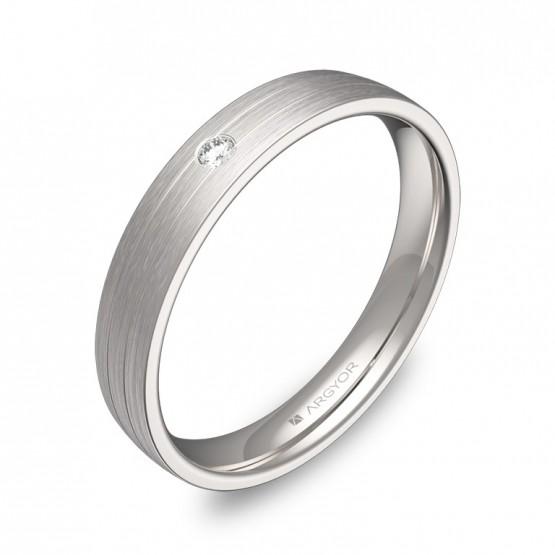 Alianza de boda con ranuras oro blanco con diamante C3535S1BB