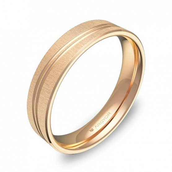 Alianza de boda plana con ranuras 4,5mm en oro rosa textura C3745T00R