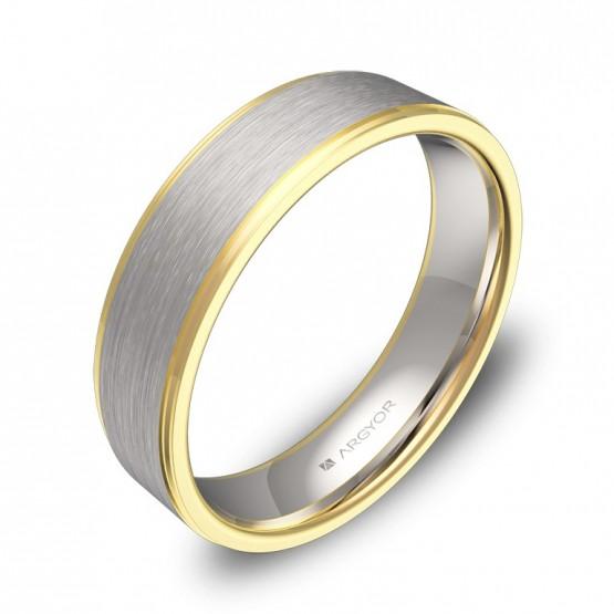 Alianza de boda 5,0mm oro bicolor blanco/amarillo combinado D0150C00A
