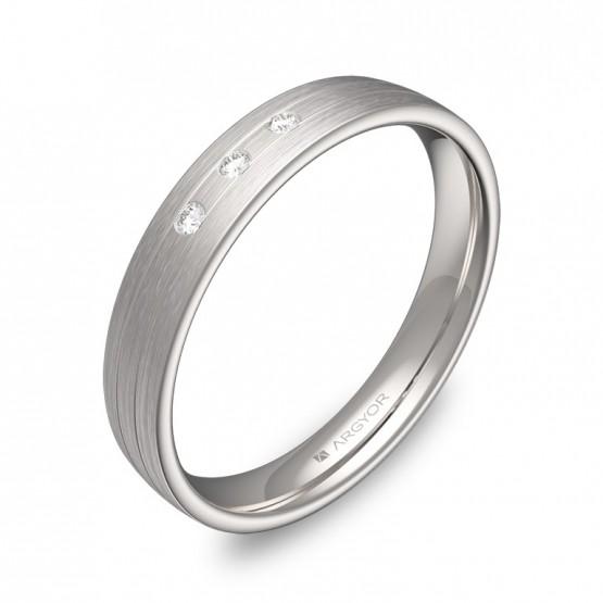 Alianza de boda 3,5mm en oro blanco satinado con diamantes C3535S3BB