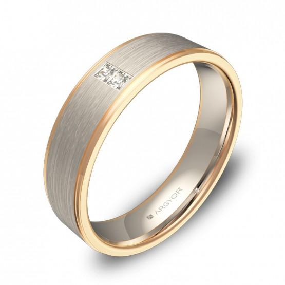 Alianza de boda oro bicolor plana con ranuras y diamantes D0150C2PR