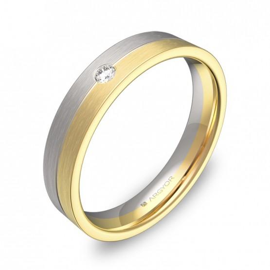 Alianza de boda plana con ranuras en oro bicolor 1 diamante D0340S1BA