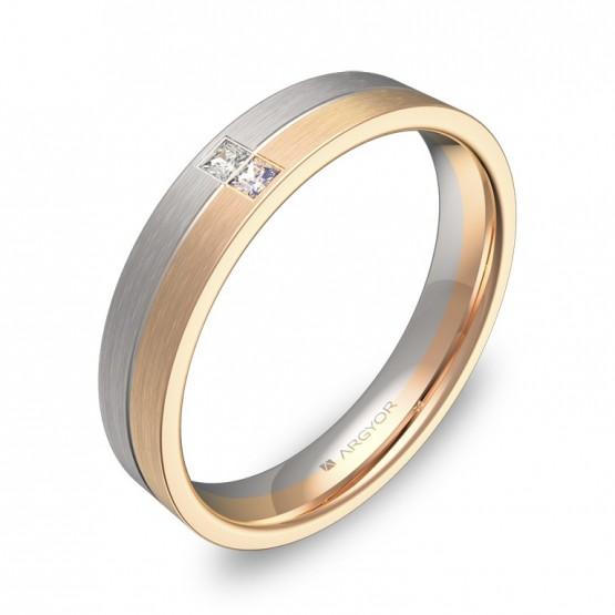Alianza de boda con ranuras en oro bicolor con diamantes D0340S2PR