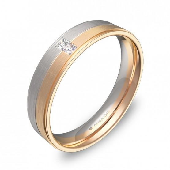 Alianza de boda en oro bicolor con diamantes D0545C2PR