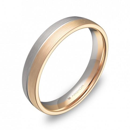 Alianza de boda media caña con ranuras 4mm en oro bicolor D0440S00R