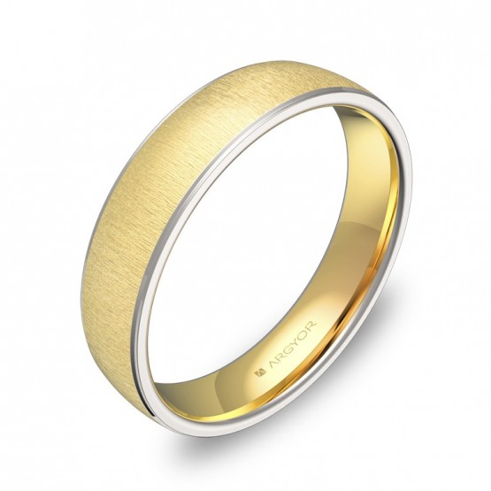 Alianza de boda media caña con biseles 4,5mm en oro bicolor D0645T00A