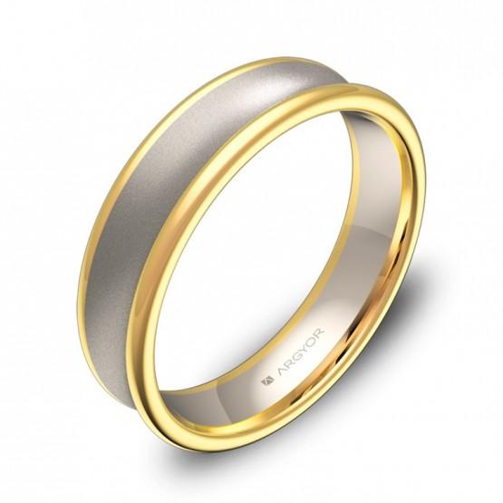 Alianza de boda cóncava 5mm en oro bicolor combinado D0750C00A