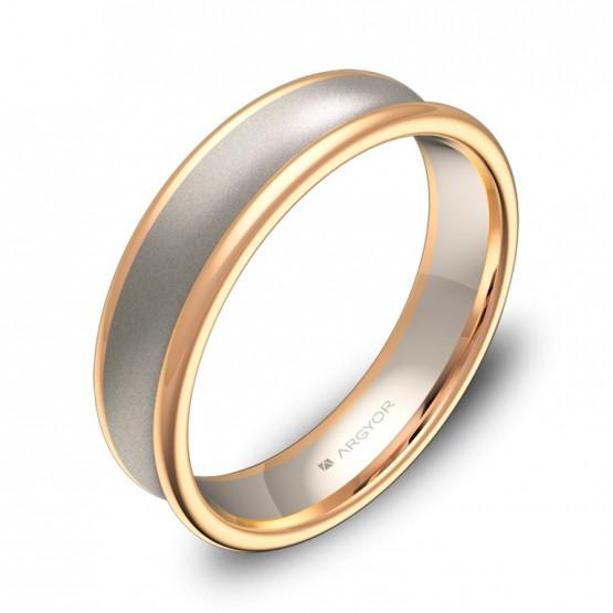 Alianza de boda cóncava 5mm en oro bicolor combinado D0750C00R