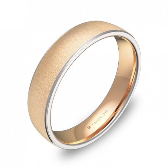 Alianza de boda de media caña con biseles en oro bicolor D0645T00R