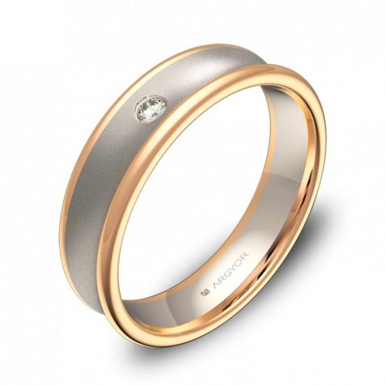 Alianza de boda cóncava en oro bicolor combinado 1 diamante D0750C1BR