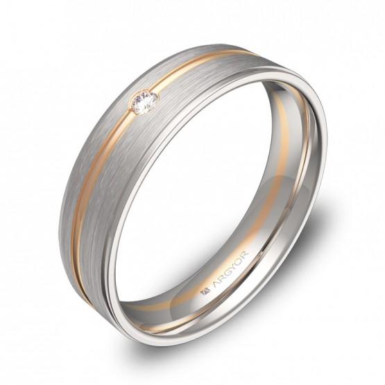 Alianza de boda con ranuras y biseles oro bicolor y diamante D0850C1BR