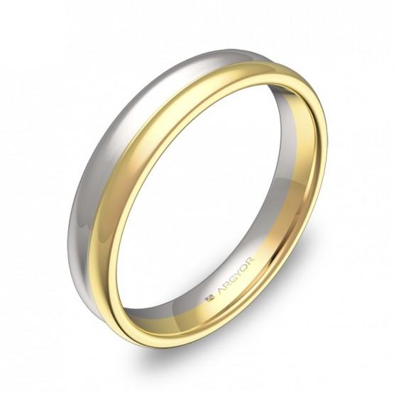 Alianza de boda de doble media caña 4mm oro bicolor pulido D0940P00A