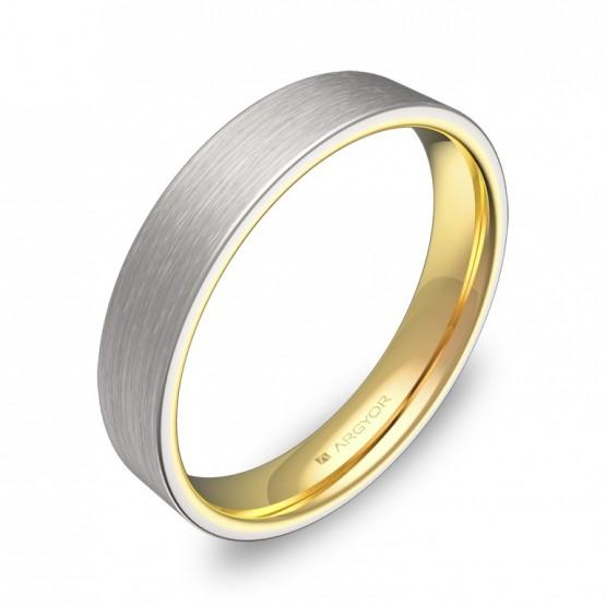Alianza de boda plana 4mm en oro bicolor satinado D1140S00A