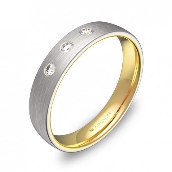 Alianza de boda  de media caña oro bicolor con diamantes D1040S3BA