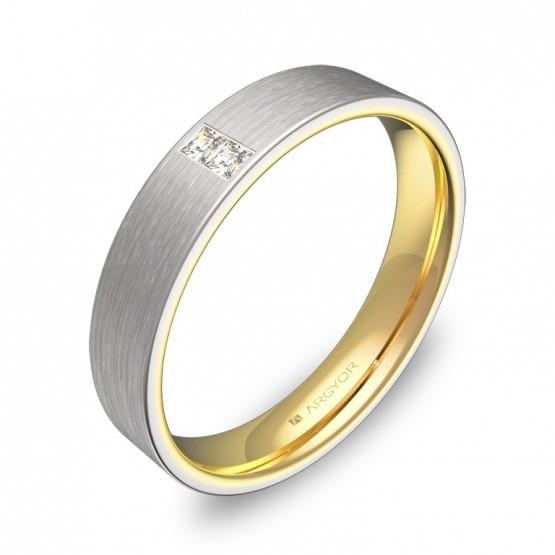 Alianza de boda de 4mm en oro bicolor satinado con diamantes D1140S2PA