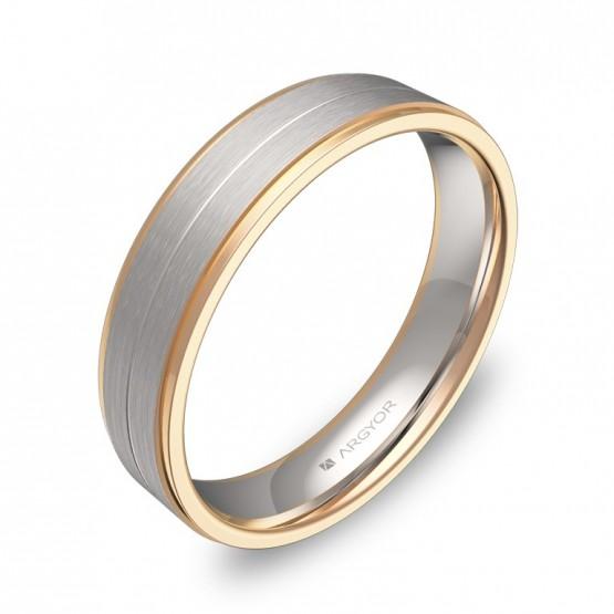 Alianza de boda con ranuras y biseles en oro bicolor D1245C00R