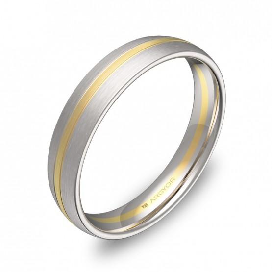 Alianza de boda de 4mm en oro bicolor satinado D1340S00A