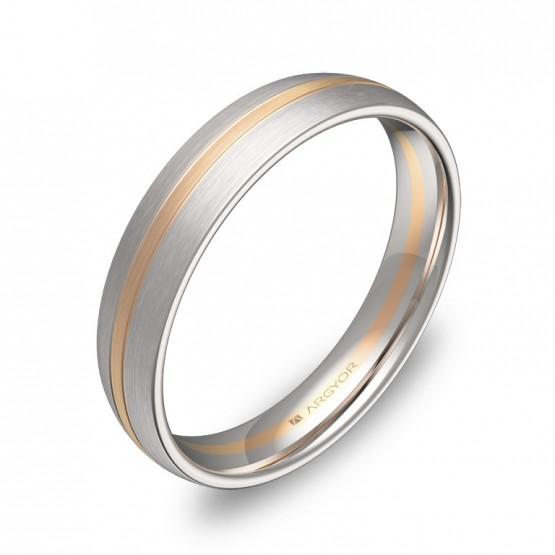 Alianza de boda con ranuras 4mm en oro bicolor satinado D1340S00R