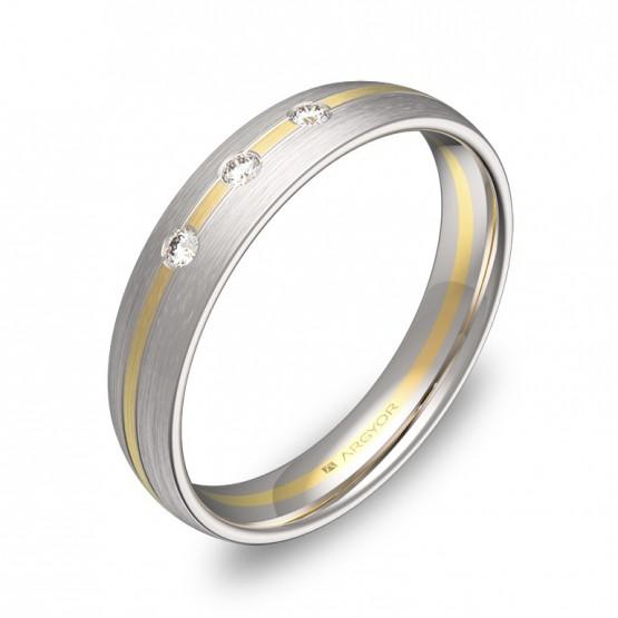 Alianza de boda con ranuras de oro bicolor con diamantes D1340S3BA