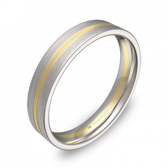 Alianza de boda con ranuras 4mm en oro bicolor satinado D1540S00A