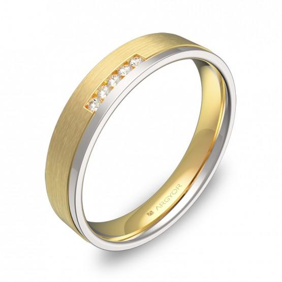 Alianza de boda de oro bicolor con ranuras y diamantes D1440C5BA