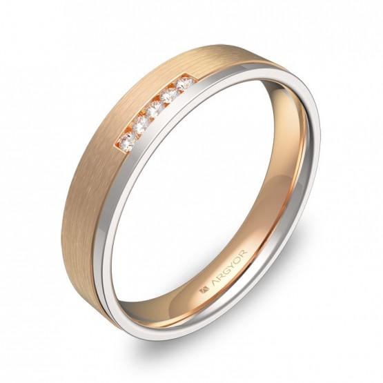 Alianza de boda con ranuras en oro bicolor con diamantes D1440C5BR