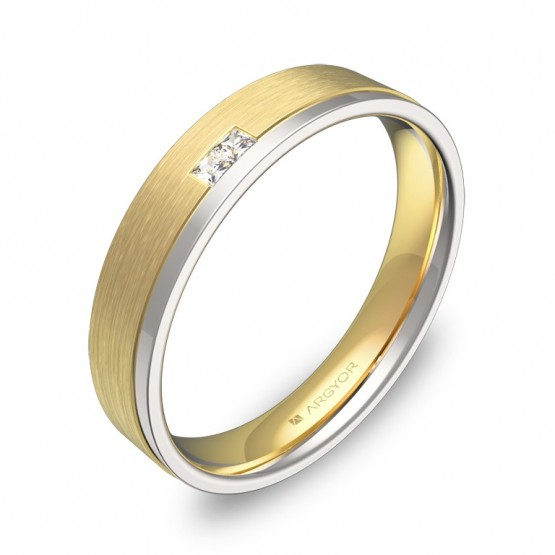 Alianza de boda con ranuras en oro bicolor con diamantes D1440C2PA