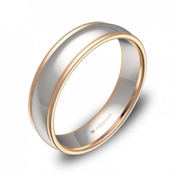 Alianza de boda de media caña con biseles en oro bicolor D1650P00R