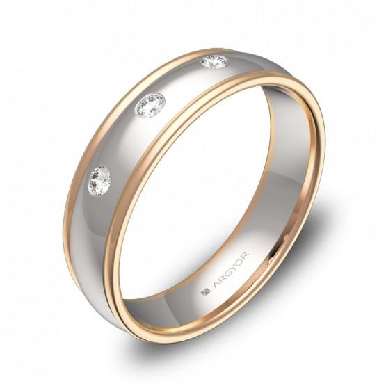 Alianza de boda biseles 5mm oro bicolor con diamantes D1650P3BR