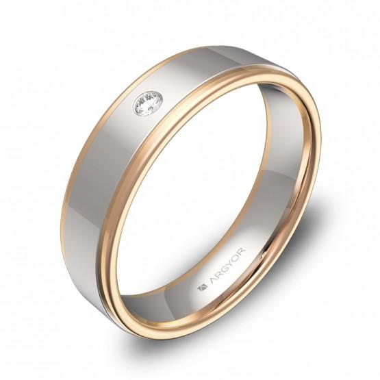 Alianza de boda en oro bicolor pulido con biseles y diamante D1850P1BR