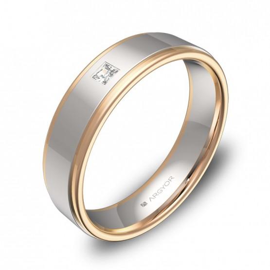 Alianza de boda con biseles 5mm en oro bicolor con diamante D1850P1PR