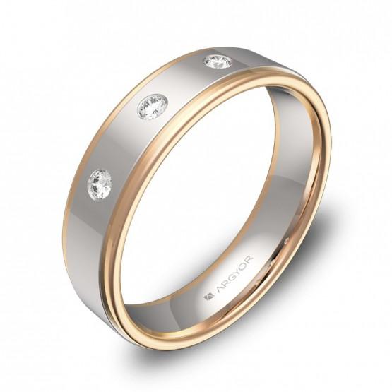 Alianza de boda plana con biseles en oro bicolor 3 diamantes D1850P3BR