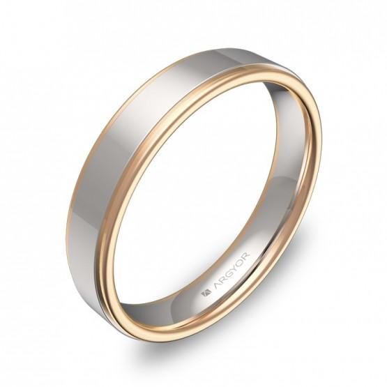 Alianza de boda plana con biseles 4mm en oro bicolor pulido D1940P00R