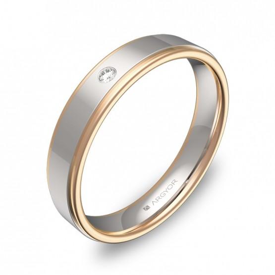 Alianza de boda con biseles 4mm en oro bicolor con diamante D1940P1BR