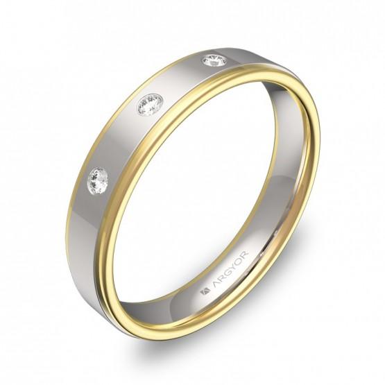 Alianza de boda plana con biseles oro bicolor con diamantes D1940P3BA