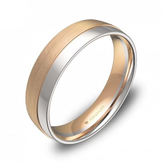 Alianza de boda de media caña con ranuras en oro bicolor D2050C00R
