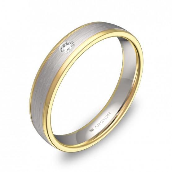 Alianza de boda plana con biseles en oro bicolor 1 diamante D2340C1BA