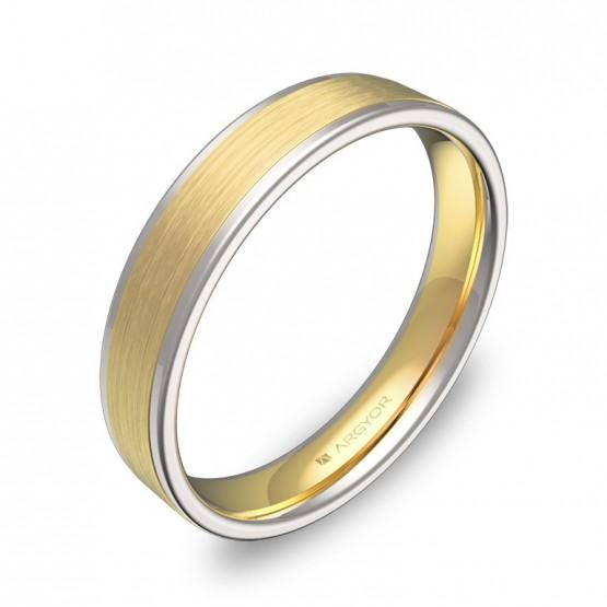 Alianza de boda plana con biseles en oro bicolor mate/brillo D2440C00A