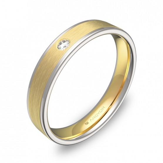 Alianza de boda con biseles 4mm en oro bicolor con diamante D2440C1BA