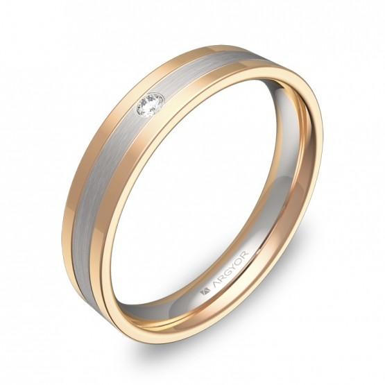 Alianza de boda  4mm en oro bicolor combinado con diamante D2540C1BR