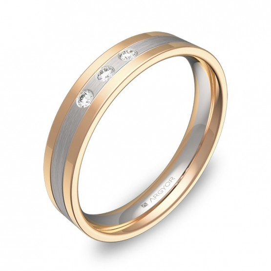 Alianza de boda plana con ranuras en oro bicolor 3 diamantes D2540C3BR