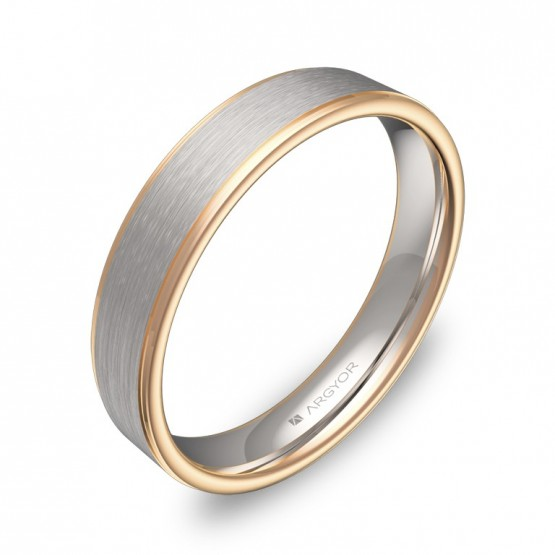 Alianza de boda plana con biseles 4mm en oro bicolor D2640C00R