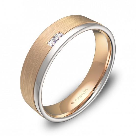 Alianza de boda con ranuras en oro bicolor con diamantes D2850C2PR