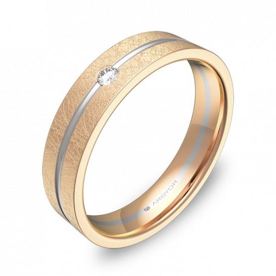 Alianza de boda 4,5mm en oro bicolor hielo con diamante D2945H1BR