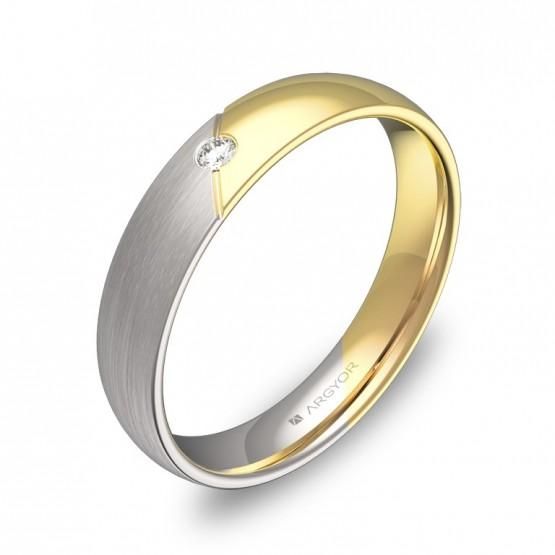 Alianza de boda de oro bicolor combinado con diamante D3040C1BA