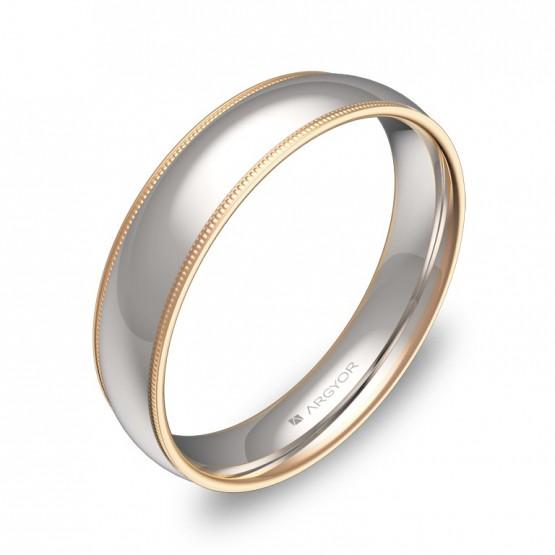 Alianza de boda con biseles 4,5mm en oro bicolor pulido D3145P00R